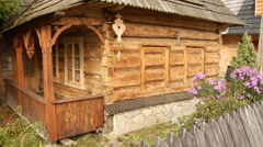 Traditional architectural and wood carving details on an old wooden house Stock Footage