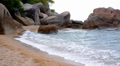 Cliffed Coast with Big Waves on the Picturesque Tropical Beach. Gulf of Siam. Footage