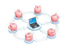 Electronic bank accounts - stock illustration