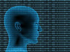 Stock Illustration of 3d human profile from a binary code