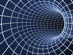Blue abstract 3d tunnel from a grid - stock illustration