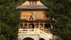 A beautiful wooden chapel in Jaszczurowka. The Zakopane Style architecture 03 Stock Footage