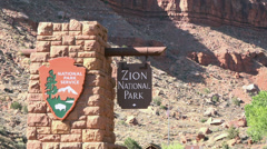 Zion National Park entrance flag HD 113 Stock Footage
