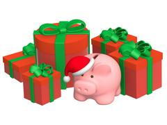 Stock Illustration of Christmas gifts and piggy bank