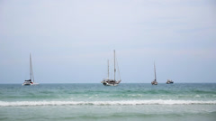 Anchored Boats Dancing on the Foamy Waves. Speed up. Koh Samui. Gulf of Stock Footage
