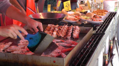 North Europe Norway City of Bergen 010 seafoods in a pan - stock footage