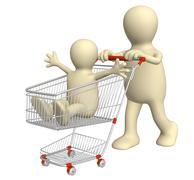 Shopping family - stock illustration