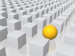Stock Illustration of Bright sphere in row of grey boxes
