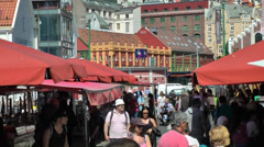 North Europe Norway City of Bergen 025 stalls on the famous fish market - stock footage