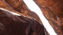 Slot Canyon Adventure Nature Near Moab Utah Inside Canyon Looking Up Stock Footage