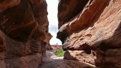 Slot Canyon Adventure Nature Near Moab Utah Inside Canyon Handheld - stock footage
