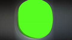 Airplane Window Green Screen with alpha Stock Footage