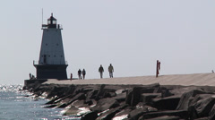 Ludington Lighthouse Stock Footage