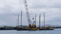 Harbor pylon hammer installation barge rig 2 Stock Footage