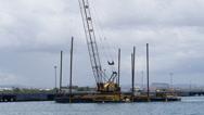 Harbor pylon hammer installation barge rig 2 Stock Footage