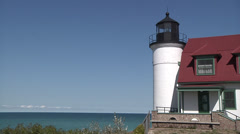 Point Betsy Lighthouse Stock Footage