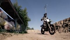 Motocross racer jumping on a motorcycle sequence Stock Footage