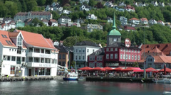 North Europe Norway City of Bergen 015 waterfront of city center, seagulls Stock Footage