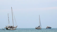 Jetskis, Jet Boats Sailing between Boats and Yahts. Sea Entertainment. Stock Footage