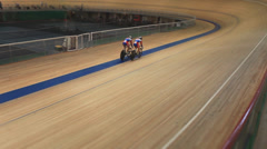 Stock Video Footage of Bike Pursuit in velodrome sequence