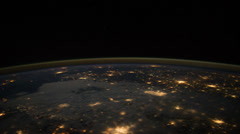 City Lights at Night from Gulf of Mexico to Atlantic Ocean - stock footage