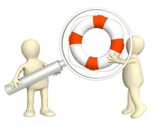 3d puppets with a lifebuoy - stock illustration