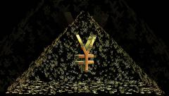 Pyramid of Japanese yen signs Stock Footage
