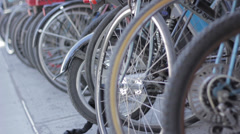 Bikes lined up Stock Footage