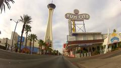 POV Rolling Past Wedding Chapels Cheap Motels- Las Vegas NV Stock Footage