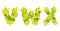 Stock Illustration of Alphabet - letters with a green leaves