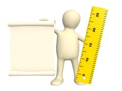 Stock Illustration of Puppet with information scroll and ruler