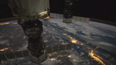 Stock Video Footage of International Space Station - Moonglow over Canada and Northern U.S.
