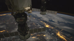 4K UHD International Space Station - Moonglow over Canada and Northern U.S. - stock footage
