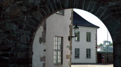 North Europe Norway City of Bergen 050 portal to inner courtyard of castle Stock Footage
