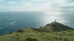 High and wide view of Cape Reinga lighthouse. timelapse Stock Footage