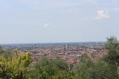 Distant view of Verona city - stock photo