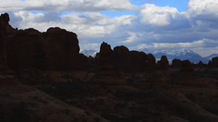 Arches national park with la sal mountains Stock Footage