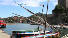 view of the harbor town of Collioure HD - stock footage