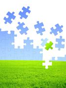 Nature concept - 3d puzzles - stock illustration