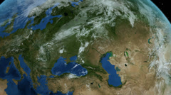 Rotating Earth close up on Europe, slow passage through Europe. 4K Stock Footage