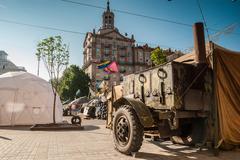 kiev, ukraine - may 12, 2014: ukrainian revolution. euromaidan. mobile kitche - stock photo