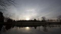 Time Lapse - Quiet Pond Reflections Sunset Stock Footage