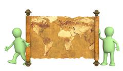 3d puppets with the ancient map - stock illustration