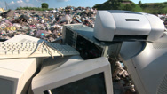 Stock Video Footage of Discarded obsolete computer scrap at rubbish dump