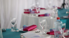 Ready for the holiday banquet hall beautiful restaurant Stock Footage