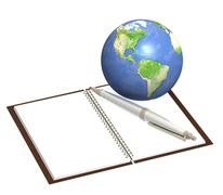 Stock Illustration of Earth and notebook