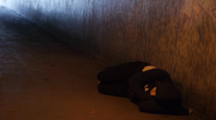 Young Homless Adult Rests in Underpass Stock Footage