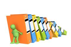 Stock Illustration of 3d puppet, supporting falling folders