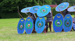 Roman soldiers are making shield wall Stock Footage