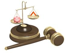 Division of property at divorce - stock illustration